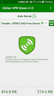 MTN 0.0kb Free Browsing Cheat Setting For 24Clan VPN Green Edition