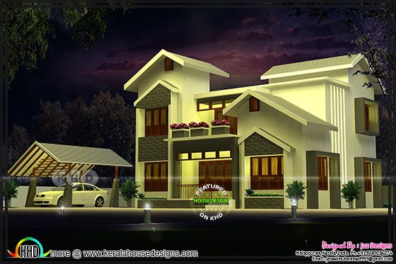 Modern mixed roof home design by Jaz designs