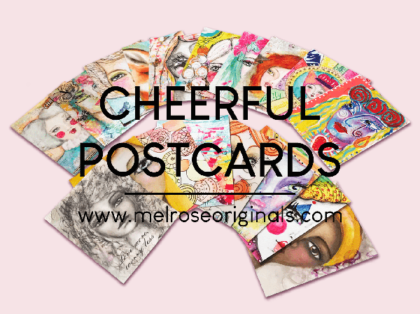 postcards in colorful abstracts, whimsical faces, and fun mixed media designs