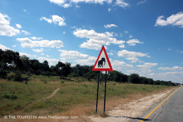 wildlife corridor of theElephant warning sign on a road through the Caprivi Game Park and the Kwando Core Area on the way to Kongola in Namibia