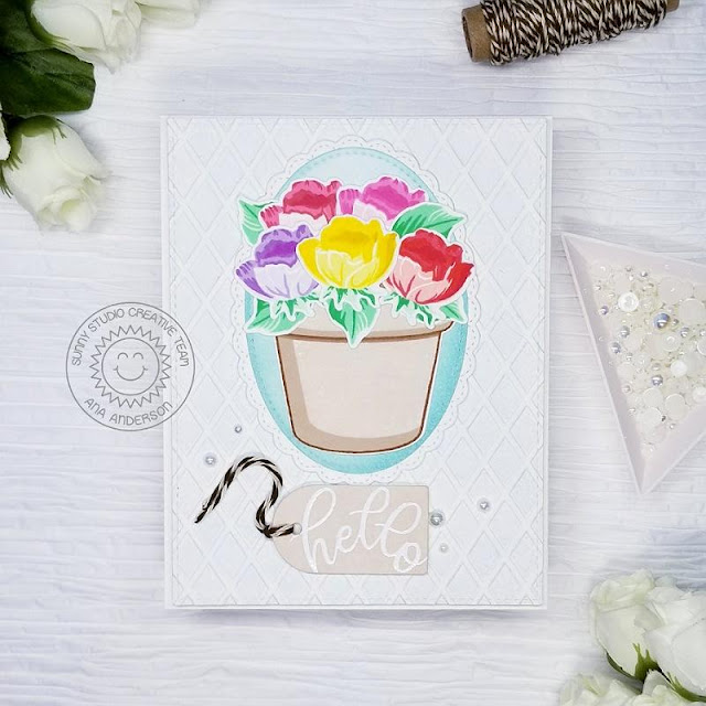 Sunny Studio Stamps: Potted Rose Frilly Frame Dies Fancy Frame Dies Friendship Card by Ana Anderson