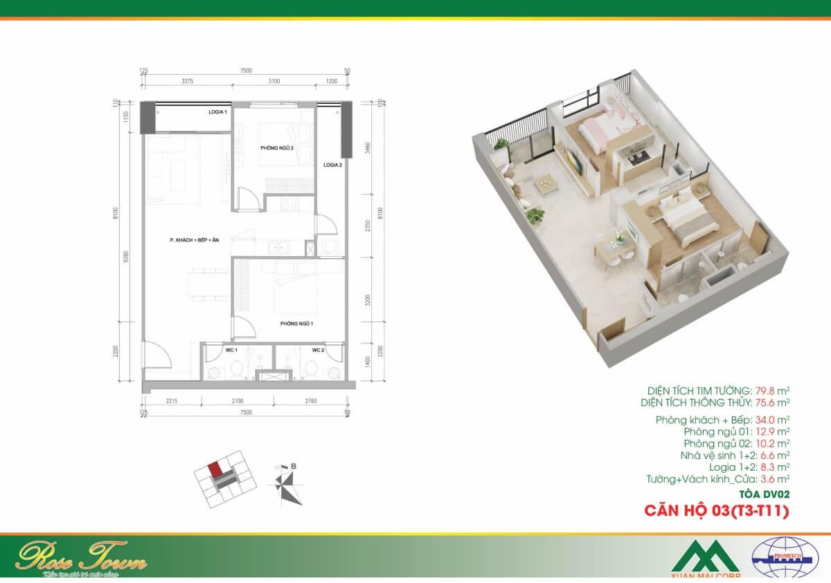 Căn hộ DV02-CH03 dự án Xuân Mai 79 Ngọc Hồi