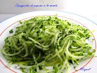 Espaguetis de pepino a la menta