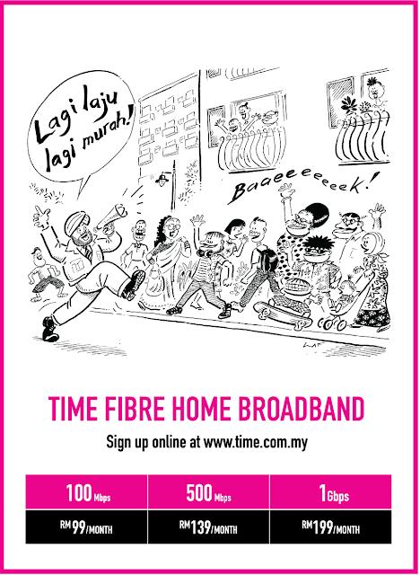 TIME FIBER HOME BROADBAND: KELAJUAN INTERNET 100Mbps HANYA RM99!