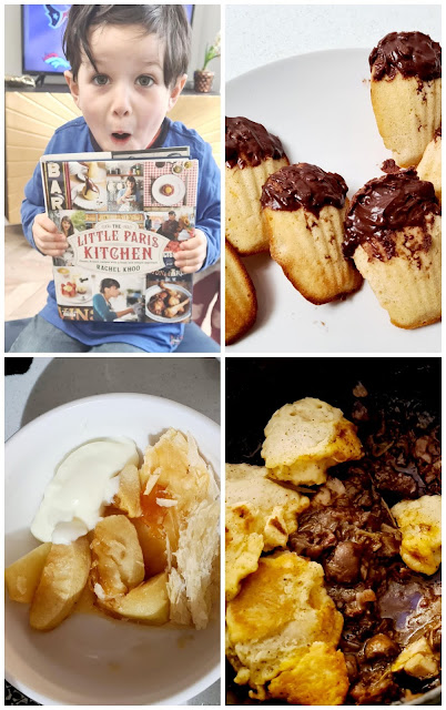 Traditional French cooking with kids boeuf borguignon avec des quenelles tarte tatin chocolate dipped madelines