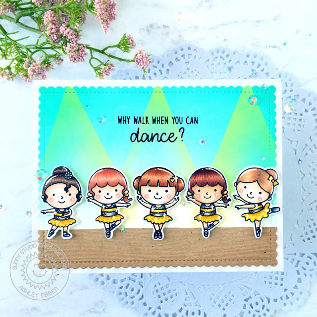 Sunny Studio Stamps: Frilly Frame Dies Tiny Dancers Everyday Card by Ashley Ebbens