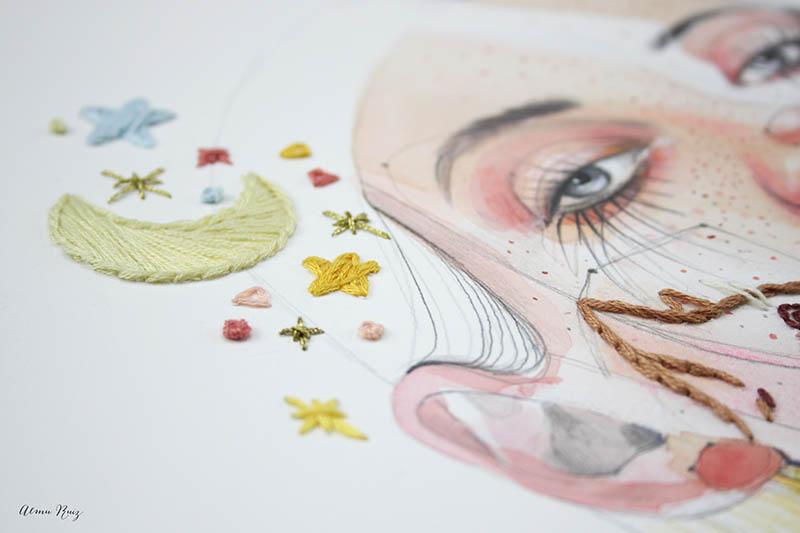 Ilustración bordada. Colaboración de Ana Santos y Almu Ruiz