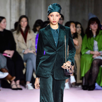 Green velvet suit with turban