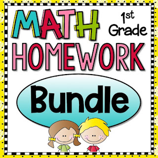 1st Grade Math Homework or Morning Work and Spiral Review for first graders