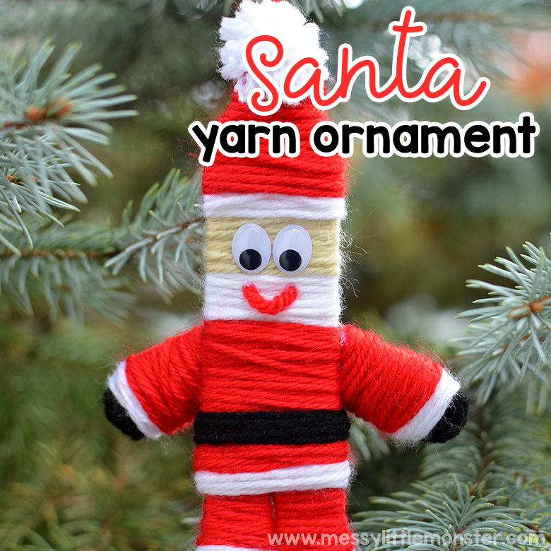 Yarn Christmas Ornaments. Santa ornament. Christmas crafts for kids.
