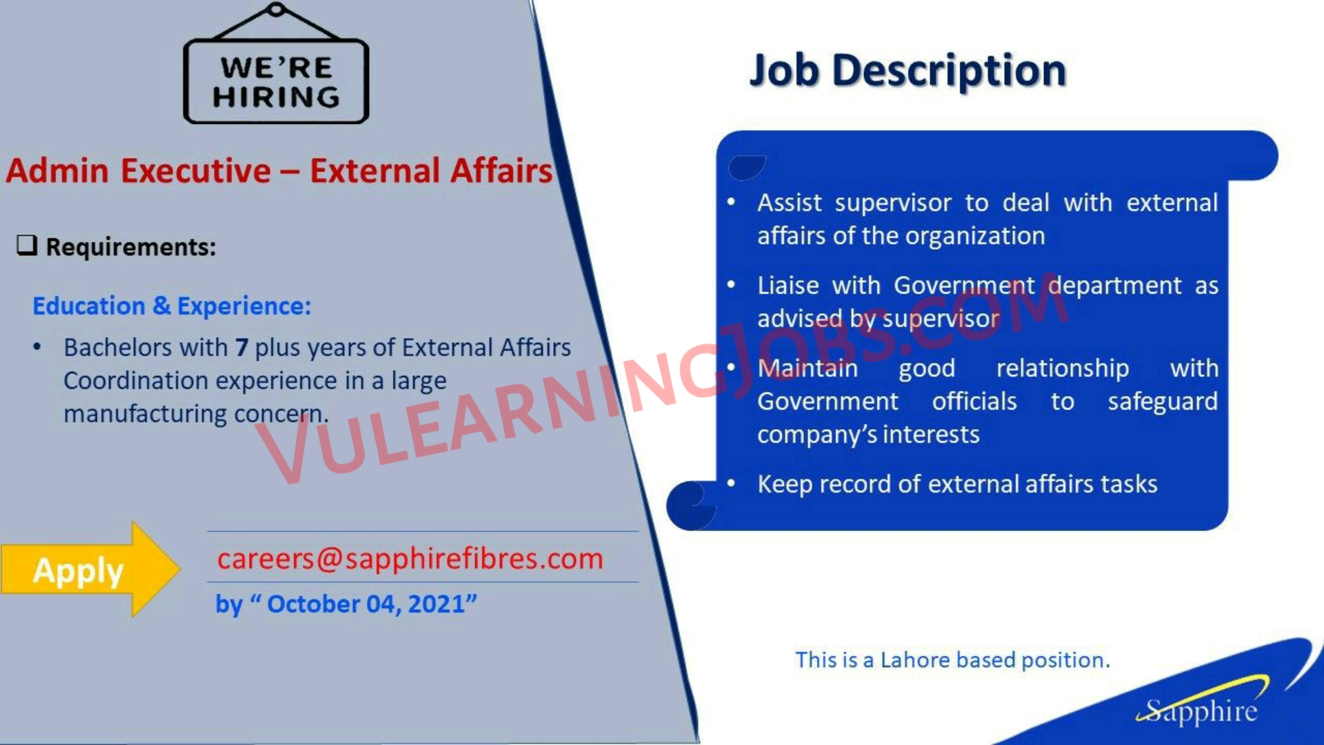 Sapphire Fibres Limited Jobs September 2021 For Admin Executive Latest
