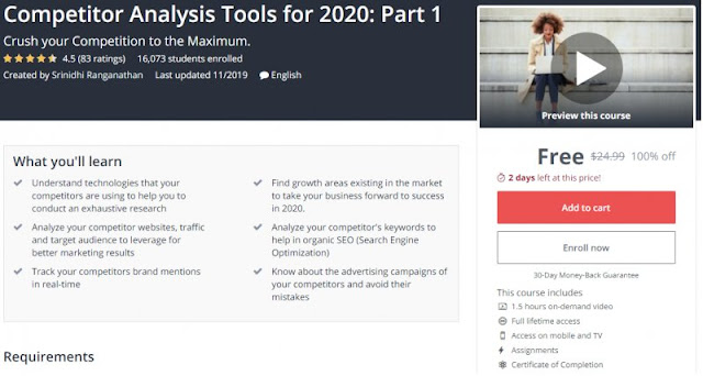 [100% Off] Competitor Analysis Tools for 2020: Part 1| Worth 24,99$