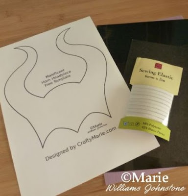 Printed template design, elasticated tape band and cardstock in black and purple