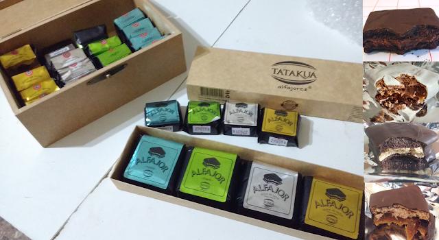 alfajores tatakua caja variedades negro chocolate dulce de leche chocolate blanco nutella mani