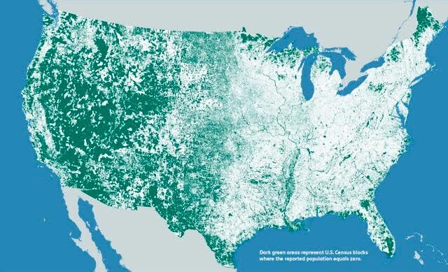 FYI Cool Map Million Census Blocks With Zero Population Deer - Cool map of us