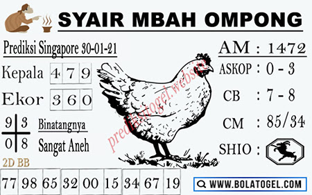 Syair Mbah Ompong SGP Sabtu, 30 Januari 2021