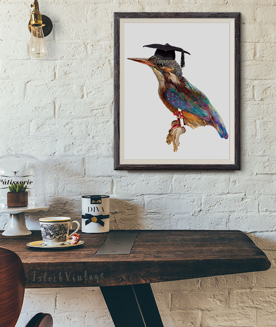 Etsy Kingfisher graduation - instant download clipart