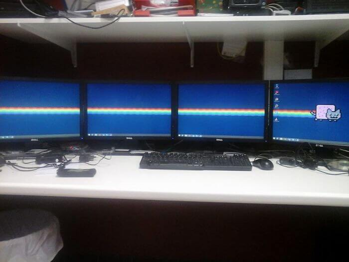 28 Creatively Hilarious Desktop Wallpapers We Wished We Had Thought Of First - The Best Wallpaper For A 4 Monitor Setup.
