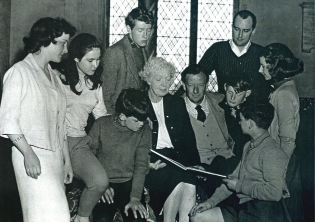 A young Michael Crawford in the 1959 production of Britten's Noye's Fludde at St Margaret's Church in Lowestoft; cast members pictured with Benjamin Britten (Photo Eastern Daily Press)