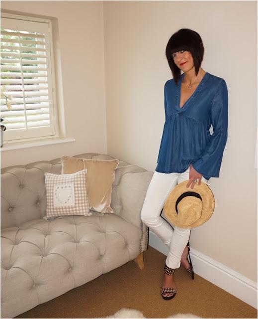 My Midlife Fashion, H&M Lyocell tunic, zara white skinny jeans, cocobay seafolly straw fedora hat, ash footwear monoi sandals