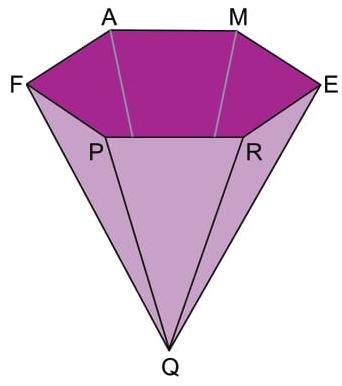 FAMERP 2021: Um recipiente tem a forma de pirâmide regular de base hexagonal, como mostra a figura. Sabe-se que FE = 80 cm e que a distância do vértice Q ao plano que contém a base hexagonal FAMERP é igual a 30 cm.