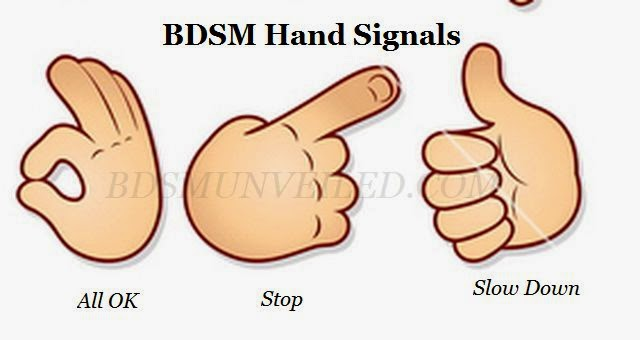 example of BDSM hand signals... you can make your own..