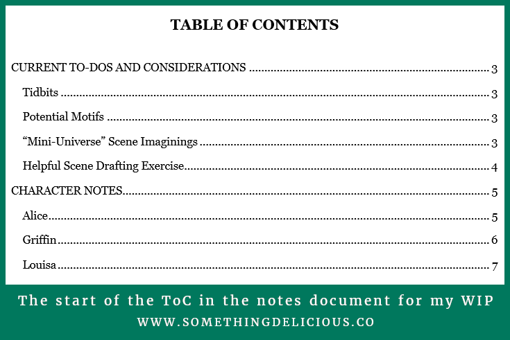 A screenshot of the beginning of the table of contents from Tori's notes document for her work-in-progress.  It says Table of Contents at the top and then lists the first two categories (Current To-Dos and Considerations and Character Notes), along with their subheadings.