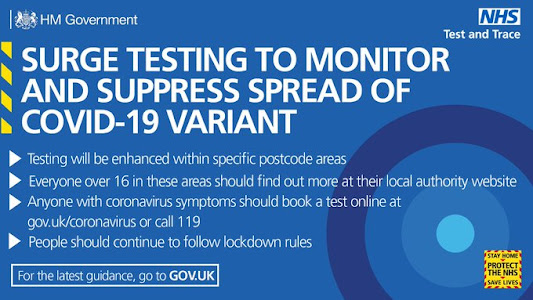 surge testing to monitor for variants in some postcode areas - bold text