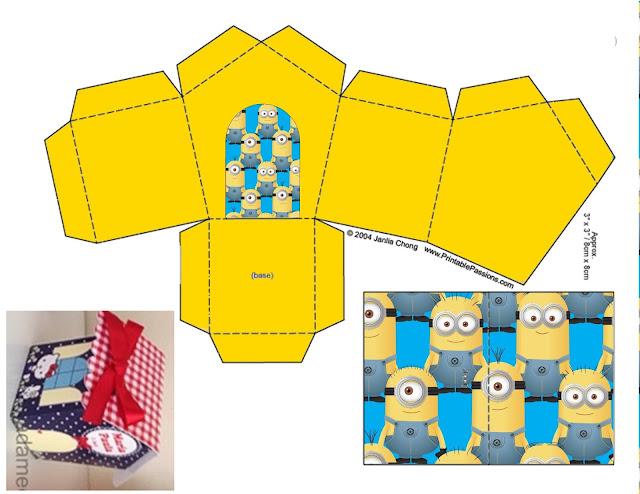 Minions Caja con Forma de Casa para Imprimir Gratis.