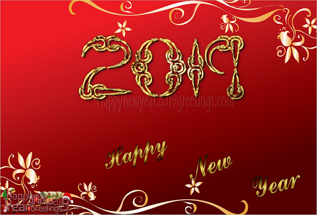 Happy New Year 2019 Red Golden Background Download