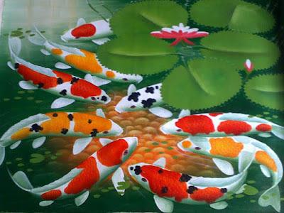 water wall dan kolam ikan koi feng shui