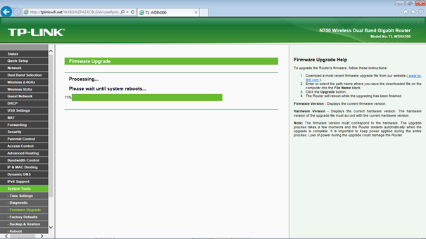 Tp-link tl-wdr4300 firmware upgrade router screenshot.
