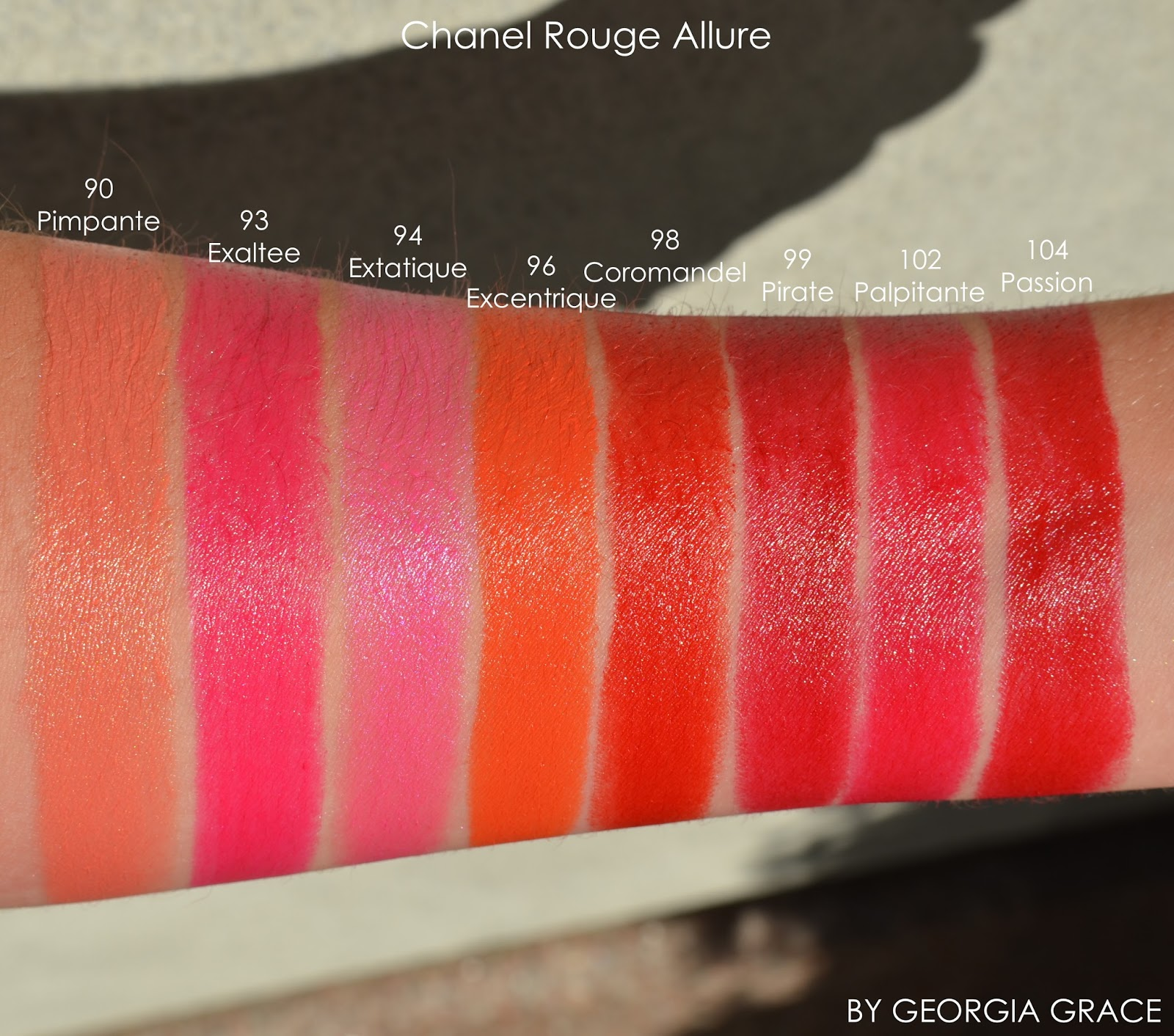 Chanel Rouge Allure Swatches Of All Shades By Georgia Grace