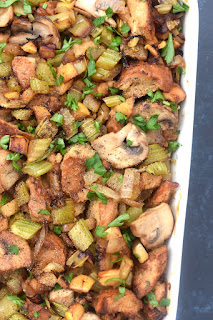 Hummus Stuffing is a fun non-traditional way to make stuffing with sauteed apples, celery, onion and mushrooms for a creamier stuffing that is perfect for Thanksgiving!