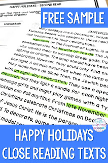 Happy Holiday Close Reading Text - free sample