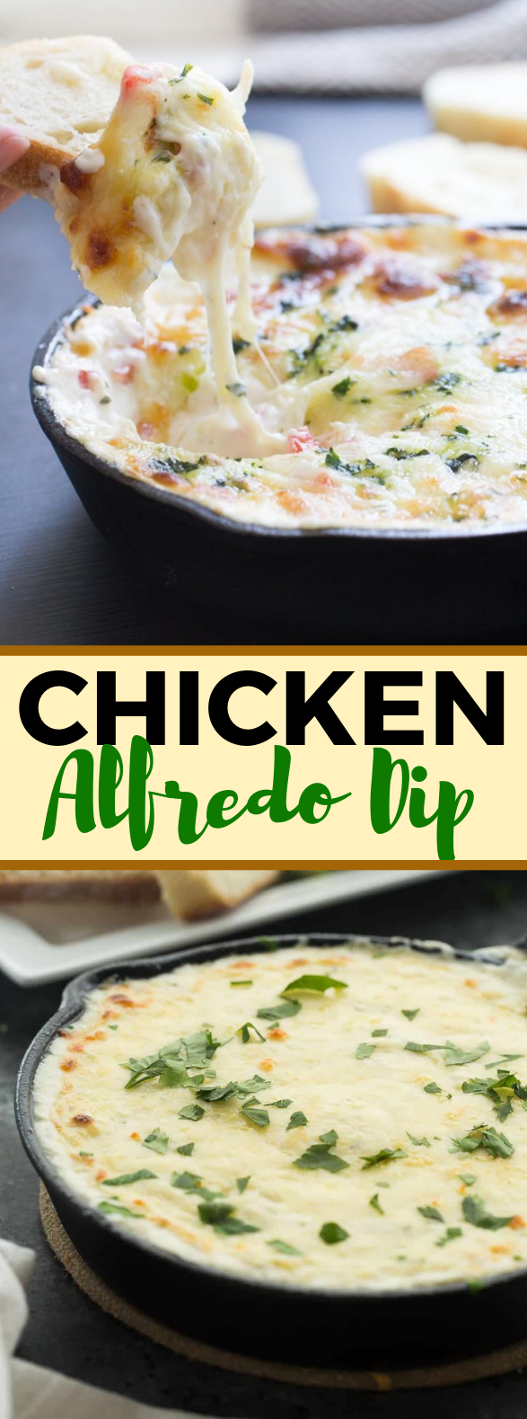 CHICKEN ALFREDO DIP #appetizers #lunch