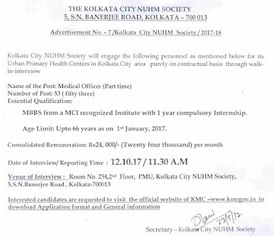 Kolkata Municipal Corporation Recruitment 2017