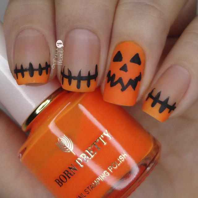 unha decorada abobora halloween