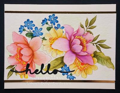 Heart's Delight Cards, Altenew Garden Treasure, Altenew Peony Bouquet,No Line Watercolor, Zig Brush Pens