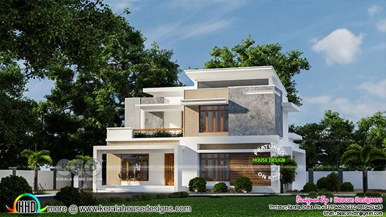 Modern flat roof home rendering