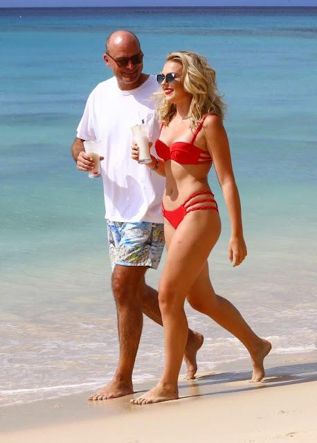Tallia Storm in Red Bikini on holiday in Barbados