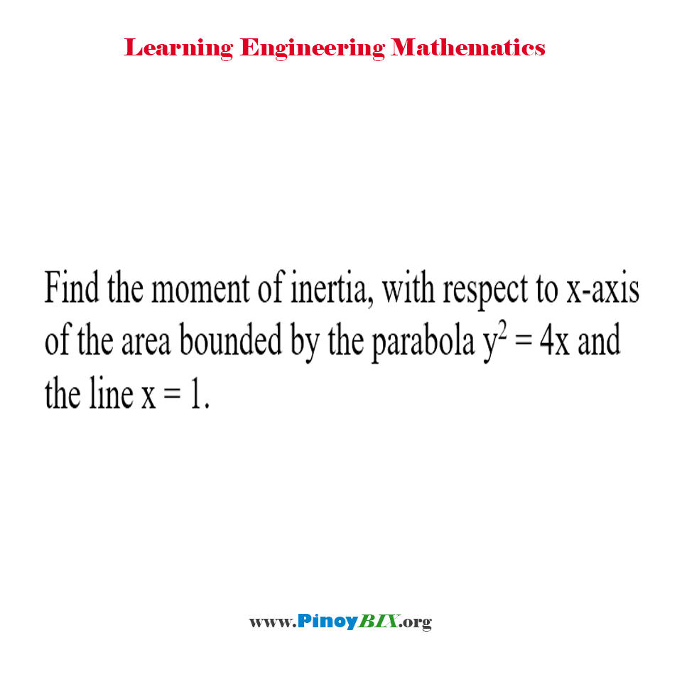 Find the moment of inertia with respect to x-axis of the area bounded by the parabola and the line