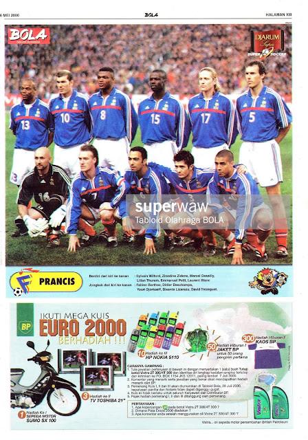 FRANCE TEAM SQUAD EURO 2000