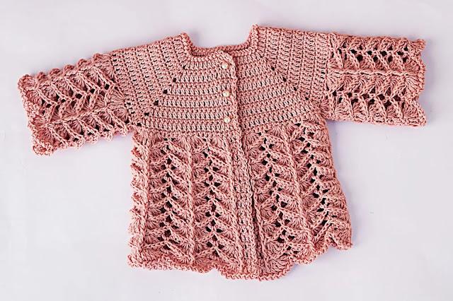 Cómo Tejer Chambrita o Saco Rosa a Crochet en Todas las Tallas