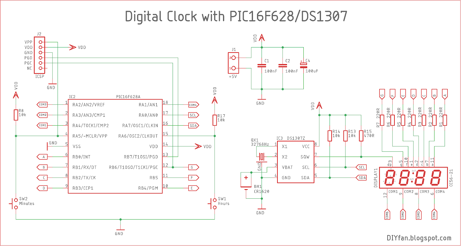 small resolution of the latter can be added in the software though for the rtc chip i chose ds1307 for the led display i used kingbright cc56 21srwa