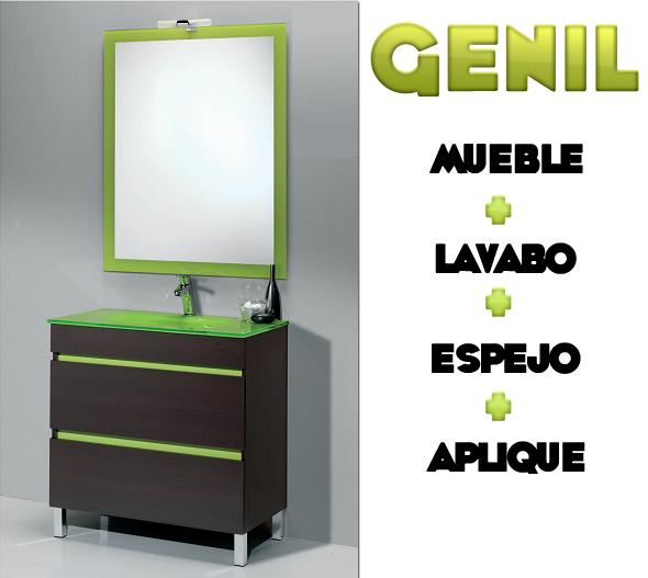 Lavabo Verde Pistacho.Genil Mueble Lavabo Espejo Aplique En Promocion