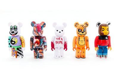 Designer Con 2019 Exclusive Be@rbrick Artist Series 100% Vinyl Figure Box Set by MEDICOM TOY featuring Steven Harrington, Tristan Eaton, Joe Ledbetter, Luke Chueh and kaNO