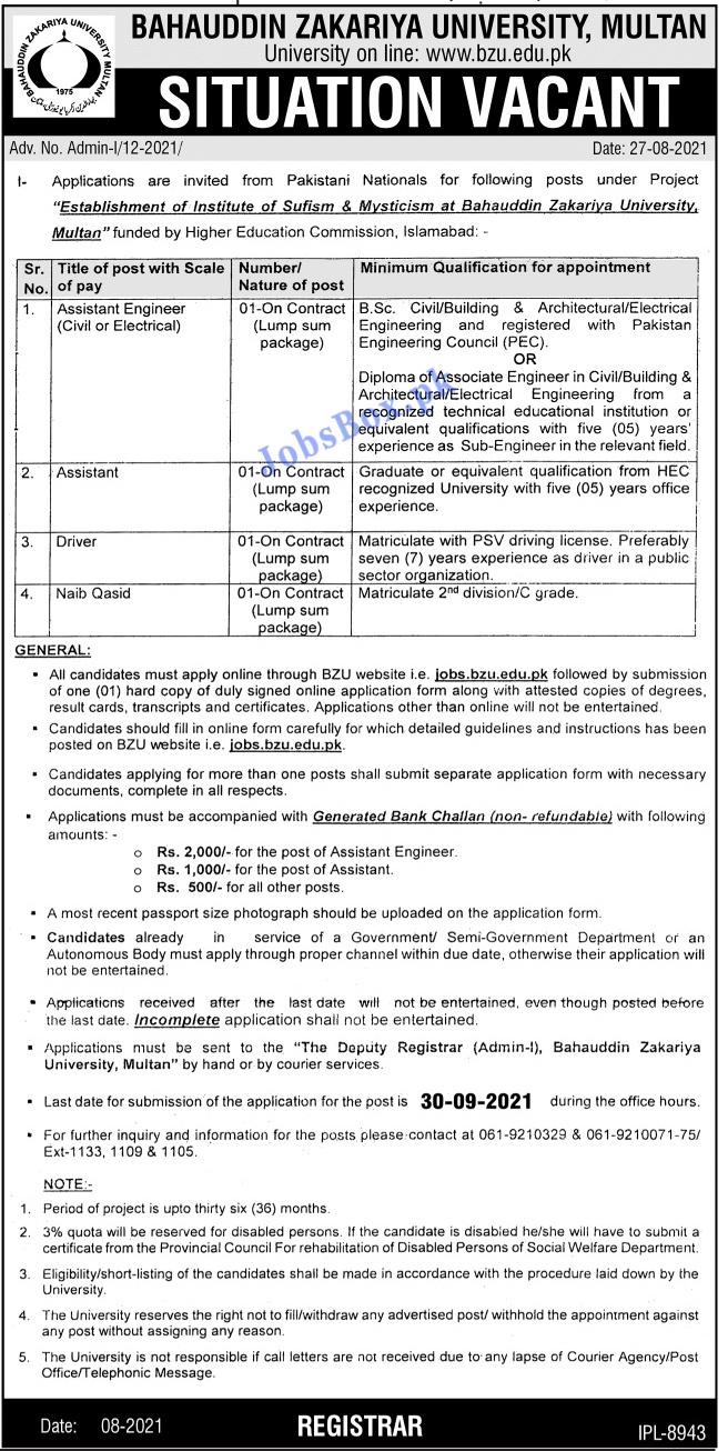 Bahauddin Zakariya University BZU Multan Jobs 2021 – Jobs.bzu.edu.pk