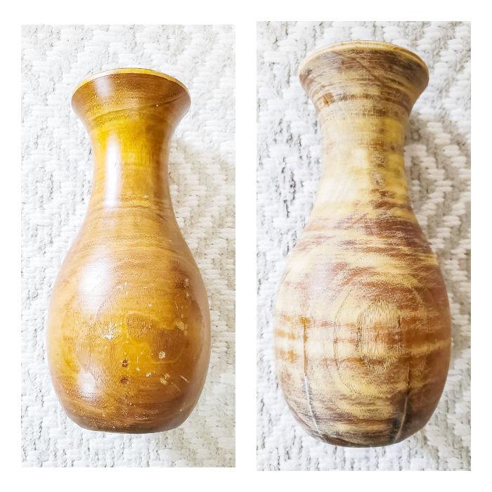 wood vase before