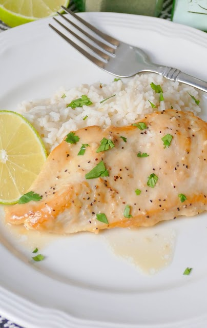 Chicken breast and rice on white plate